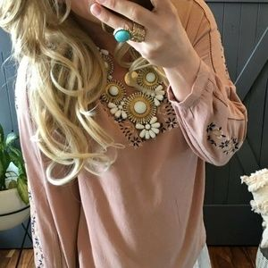 New Sweet Molly Embroidered Boutique Blouse Top
